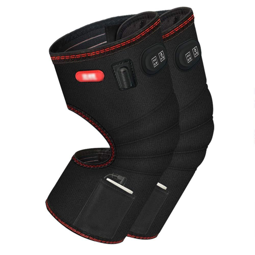 ZXQZ Kneepad電気暖房膝パッド男性と女性のための暖かい寒い四季の炎症膝のマッサージ熱い圧縮マッサージャー ニーパッド (色 : 黒) 黒