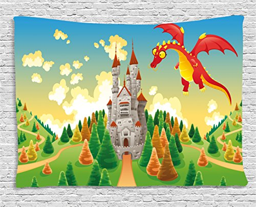 Boy's Room Tapestry Lunarable, Panorama with Medieval Castle  Red Dragon Fantastic Fairy Myth
