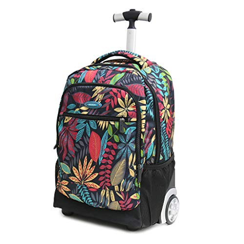 18 Inches Lightweight Wheeled Rolling Backpack/School Bag/Laptop/Travel Luggage for Students & Kids,40L Black