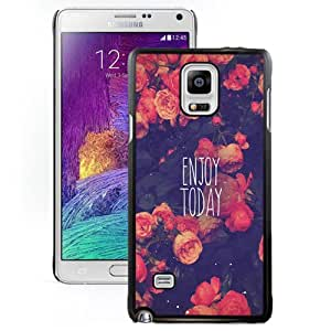Fashionable And Unique Designed Cover Case For Samsung Galaxy Note 4 N910A N910T N910P N910V N910R4 With Enjoy Today Red Roses_Black Phone Case