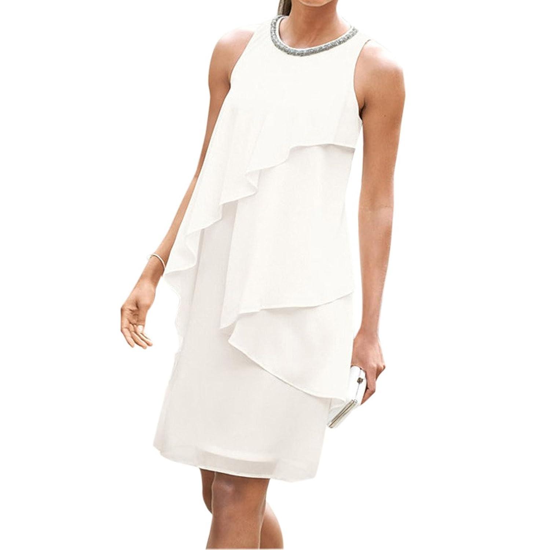 Mode fUEr Frauen Round Neck Sleeveless Weiss UnregelmAEssige Hem Bodycon  Slim Wrap Kleid online kaufen