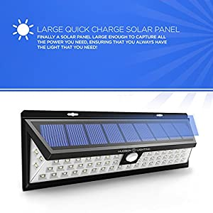 Motion Light Outdoor Solar Lights - Motion Sensor Deck Lights - Solar Lights Outdoor Patio Deck Lights 54 LED - Outdoor Motion Sensor Security - Sun Powered Lighting For Yard, Backyard, Pathway
