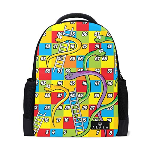 Colorful Snake Ladder Game Backpack 14 Inch Laptop Daypack Bookbag for Travel College School