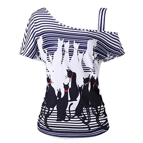 Alimao T-Shirt, Women Casual Plus Size Black Cat Printed Short Sleeve T-shirt Blouse (M, Black)