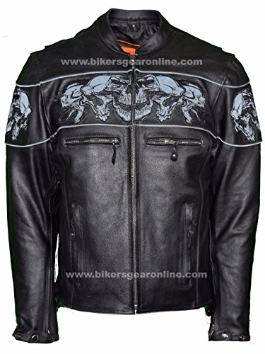 Dealer Leather MEN'S RIDING REFLECTIVE SKULLS CROSSOVER LEATHER JACKET VENTED THICK LEATHER NEW (L Regular) - Motorcycle Mens Leather Jacket Coat