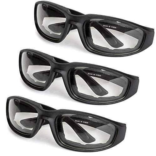 3-Pack Motorcycle Glasses - Foam Padding - Anti-Wind & Dust - Polycarbonate Lens (Clear)