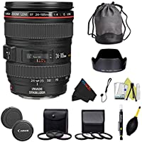 Canon EF 24-105mm f/4 L IS USM Lens for Canon EOS SLR Cameras + I3ePro Advanced Accessory Package