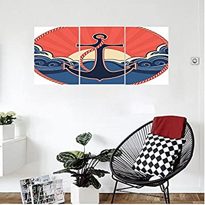 Liguo88 Custom canvas Anchor Decor Wall Hanging Navy Label with Robe and Sea Waves at Sunset Anchor Retro Sailing Aquatic Life Icons Bedroom Living Room Decor Red Blue Yellow