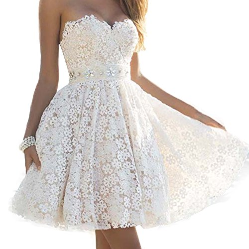 White Strapless Wedding Dresses - eReeder Women's Sexy Strapless Lace Short Prom Gowns Wedding Evening Dress,small,white