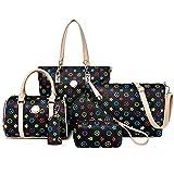 Bag Slung Shoulder Bag With Handbag,Black,Six Piece Set