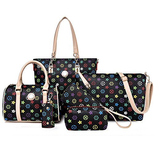 Bag Slung Shoulder Bag With Handbag,Black,Six Piece Set by SJMMBB (Image #4)