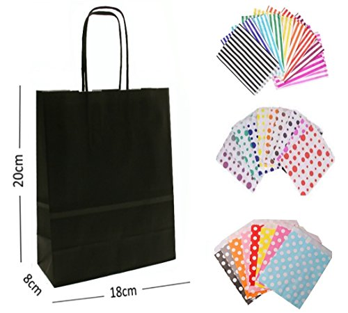 30 x BLACK PARTY PAPER GIFT BAG WITH MATCHING CANDY STRIPE SWEET BAGS