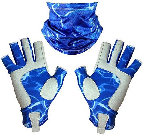 Adept Tackle - UVフィッシンググローブとゲートルセット ブルー L