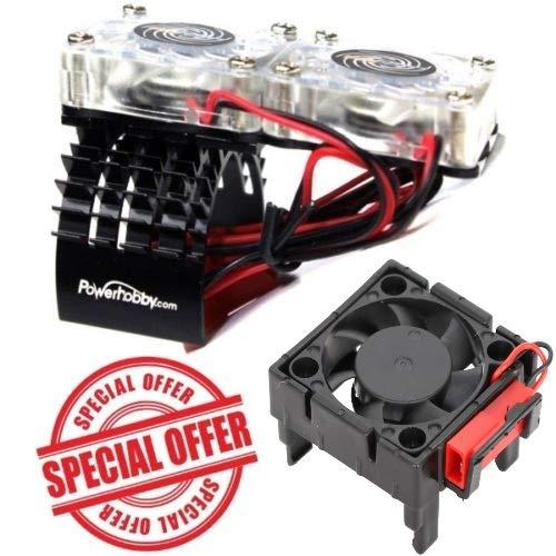 Powerhobby Traxxas Slash 4x4 Motor Cooling Fan/HeatSink Dual Twin Fan + Velineon VXL-3s ESC Cooling Fan Combo Black