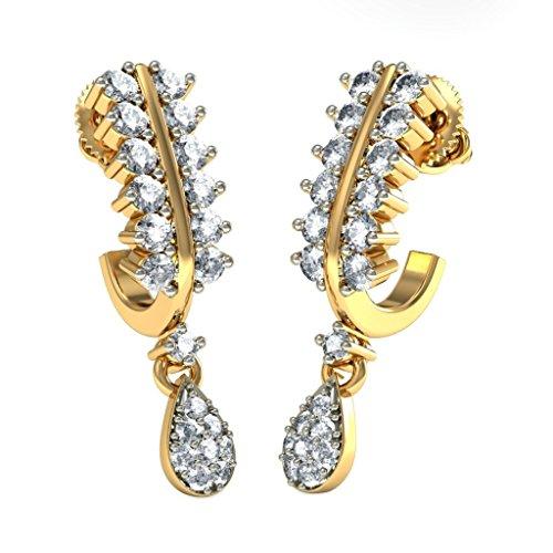 14K Or jaune 0.72CT TW White-diamond (IJ | SI) Boucles d'oreilles créoles