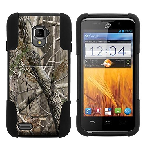 ZTE Rapido LTE Case, Full Body Fusion STRIKE Impact Kickstand Case with Exclusive Illustrations for ZTE Rapido LTE Z932L (Straight Talk) from MINITURTLE | Includes Clear Screen Protector and Stylus Pen - Nature's Camouflage