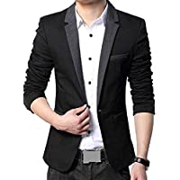 MENJESTIC Men's Designer Blazer with Grey Lapel Available in Black and Grey /2 Colors