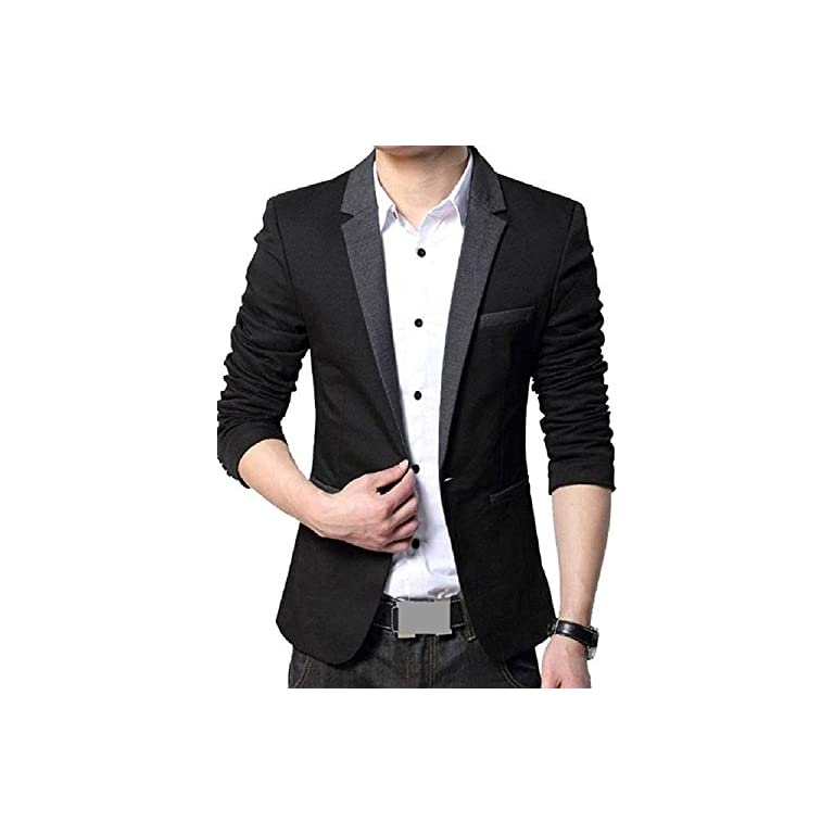 51hLGWhwMrL. SS768  - MENJESTIC Men's Designer Blazer with Grey Lapel Available in Black and Grey /2 Colors