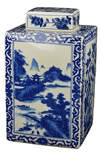 Festcool Classic Blue and White Porcelain Square Jar Vase, Flower and Landscape, China Qing Style, Jingdezhen -