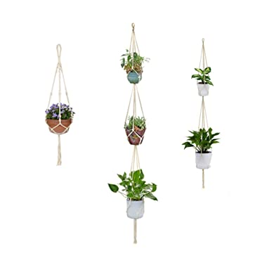 Wander G Macrame Plant Hangers holders,Cotton Rope Flower Pot Plant Holder for Indoor Outdoor Decorations(3 Pieces)