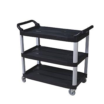 hukoer tres estante resistente plástico servicio de utilidad comercial carro baño carrito para carrito con ruedas