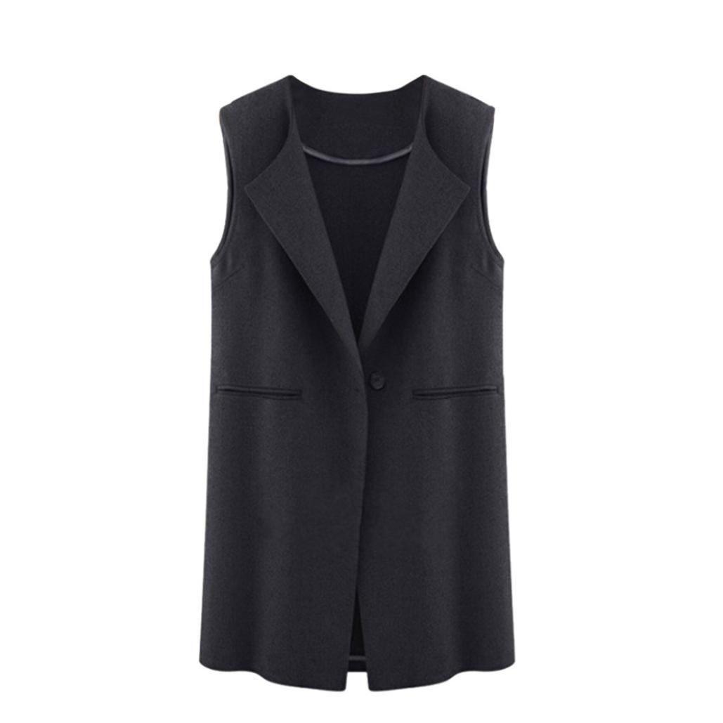 b88850da1ea Amazon.com  WensLTD Women s Casual Sleeveless Open Front Cardigan Long  Gilets Vest Outwear  Sports   Outdoors