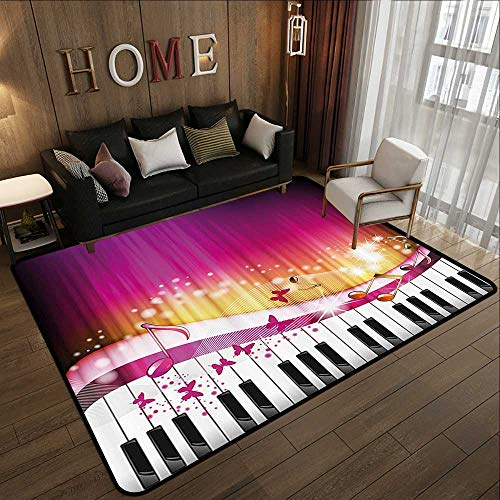 Custom Floor mats,Abstract,Piano Keys with Butterflies Stars and Musical Notes Romantic Artwork,Hot Pink Yellow White 47