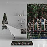 iPrint Bathroom 4 Piece Set Shower Curtain Floor mat Bath Towel 3D Print,Shutter at Windows Fence Flower Trees Blooms Dream,Fashion Personality Customization adds Color to Your Bathroom.