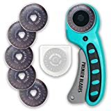 Premier Blades 45mm Rotary Cutter Tool (5 EXTRA BLADES INCLUDED) Ergonomic Soft Handle - Highest Quality Stainless Steel Blades- Perfect for Quilting & Cutting Fabric, Paper, Leather, and More!