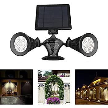 Solar Lights Outdoor Motion Sensor, iThird 12 LED 600LM Solar Powered Security Lights Wall Mounted Twin Spotlights for Garage Garden Yard Porch Driveway Pool Waterproof Warm White Super Bright