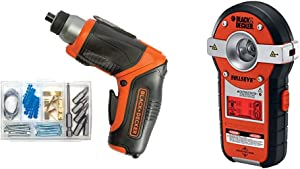 BLACK+DECKER 4V MAX Cordless Screwdriver, Rechargeable with Line Laser, Auto-leveling with Stud Sensor (BDCS40BI & BDL190S)