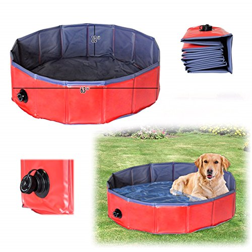 Dog Bath Tub, Splash Swim Pool Large 62' Round Foldable Dog Pool