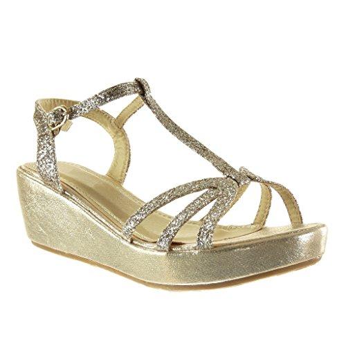 Angkorly - Zapatillas de Moda Sandalias zapatillas de plataforma correa mujer multi-correa brillante brillantes Talón Plataforma 6 CM - Oro