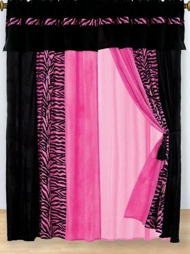 Modern Hot Pink Zebra Micro Fur Curtain Set