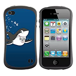 All-Round híbrido de goma duro caso cubierta protectora Accesorio Generación-I BY RAYDREAMMM - Apple iPhone 4 / 4S - Killer Whale Cartoon Drawing Shark Teeth Cute