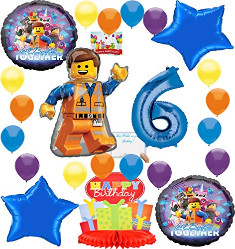 Lego Movie 2 Deluxe Balloon Decoration Bundle for (6th Birthday)]()