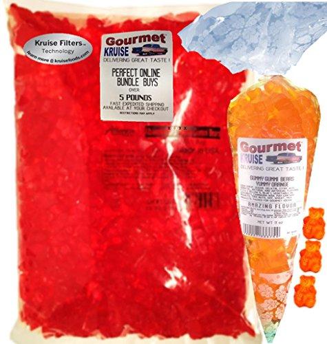 Albanese Watermelon Gummi Bears 5LB Bag With Energy Orange Gummy Bears Gourmet Kruise Signature Gift Bag 11 OZ (NET WT 5 LBS.11OZ) 2 Item Bundle