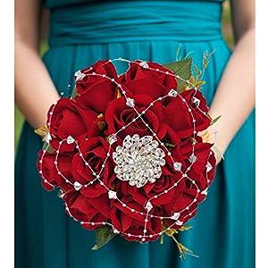 Handmade Wedding Bridal Bouquet Wedding Holding Silk Rose Bouquets with Rhinestone Brooch Ribbon Decorative for Wedding Church Wine Red 33