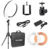 18 Ring Light with 70stand,ZoMei Dimmable LED Ring Light with tabletop stand for making up, youtube videos with ballhead, phone holder & diffuser cloth