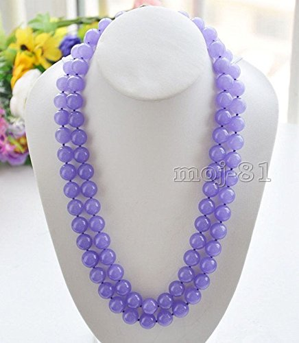 Beautiful Natural 10mm Lavender Jade Round Gemstone Beads Necklace 36