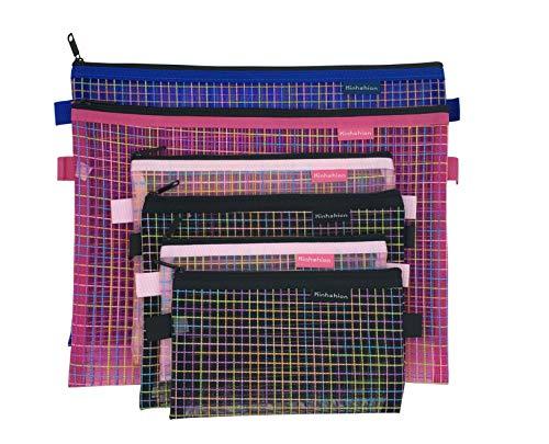 Zipper Bags, 6 PCS 3 Sizes, Mesh Zipper Pouch Clear Zipper Pouch Small Organizer bag Zipper Folder Bag Cosmetic Bags…