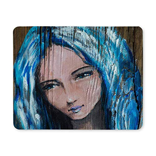 SPEEON Portrait of Woman with Blue Hair Holding Small Heart Rectangle Non Slip Rubber Mousepad, Gaming Mouse Pad Mouse Mat for Office Home Woman Man Employee Boss Work (Ppc Best For Your Hair)