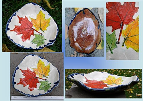 Maple Leaf Dish Ceramic Bowl Spoon Rest Red Yellow Green Leaf Rustic Pottery Plate Candy Dish Ring ()