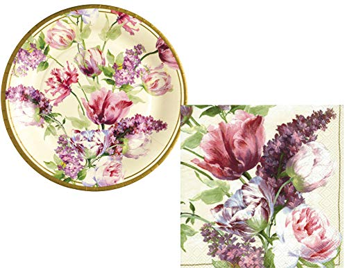 Floral Themed Party Supply Pack: Bundle Includes Plates and Napkins for 16 Guests in an Elegant Elizabethan Garden Design