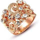 Fashion Charm Jewelry Women Lady 18k Rose Gold Plated Crystal Ring Wedding (7)