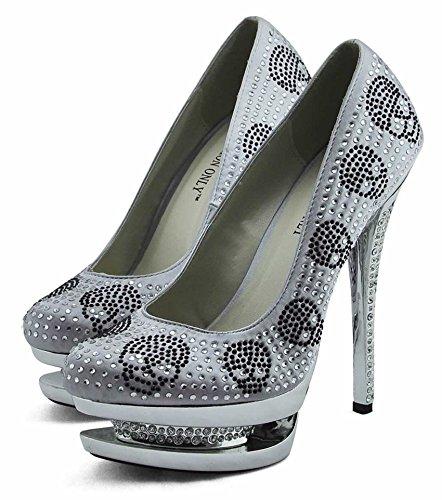 Trend-Stern-Frauen-Absatz-Plattformschuhe verziertes Schädel-Partei-Hochzeits-Diamantgröße 3-8 Style 2 - Silber