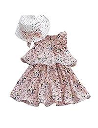 WOCACHI Toddler Baby Girl Dresses, Lemon Strap Princess Bow Party Dress Clothes