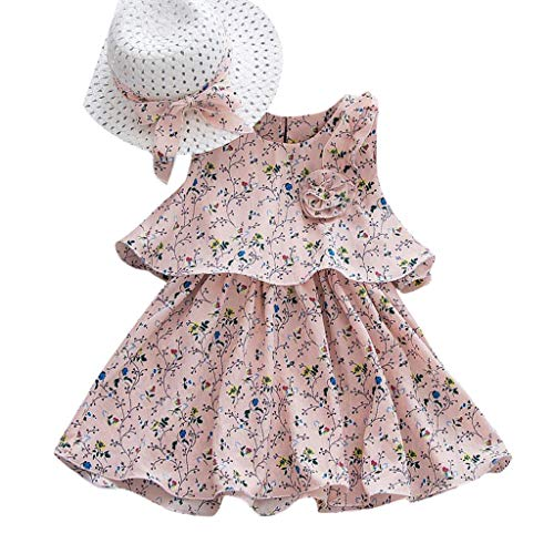 Riverdalin Toddler Kid Baby Girl Sleeveless Flower Printed Princess Dress+Bow Straw Hat Outfits Set Clothes for Summer (2-3 Years, Pink)