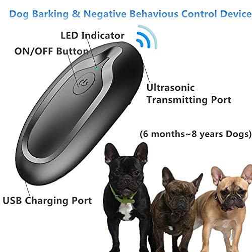 Ultrasonic Dog Barking Deterrent Devices, Handheld Bark Control Device, 2-in-1 Rechargeable Anti Barking Device Sonic Trainer for Dog Training&Controlling Barking Dog Silencer Control Range 16.4Ft
