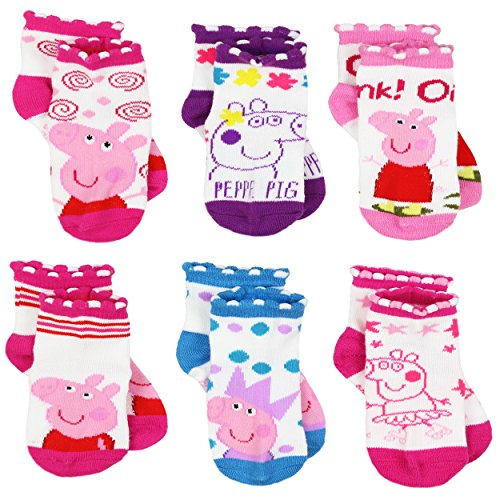 Peppa Pig Girls 6 pack Socks (2-4 Toddler (Shoe: 4-7), White/Multi Quarter) (Pink Heart Socks White)